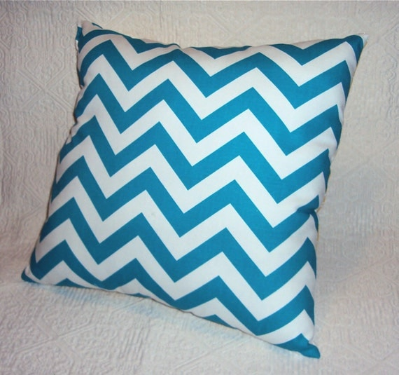 Turquoise Blue Chevron Zig Zag Fabric Pillow Cover - FREE SHIPPING