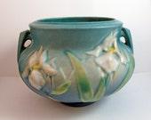 Vintage Roseville 647 5 Iris Blue Vase Jardineiere
