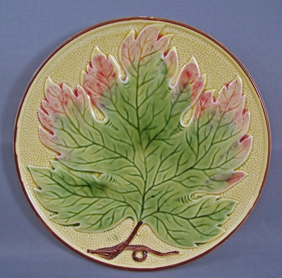 Vintage Antique Leaf Majolica Plate by Zell