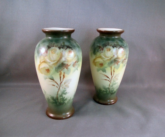 Vintage Pair of Vases, American Sevres Style with Roses