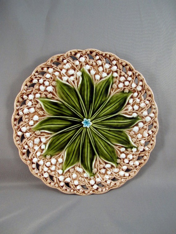 Antique Majolica Plate of Lily of the Valley by Villeroy & Boch