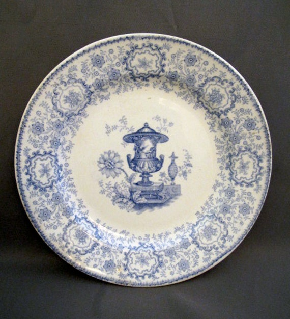 Vintage Transferware Plate J G Alcock Pompeii Staffordshire Classical Urn Blue and White