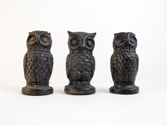 Three Antique Cast Iron Owls Miniature