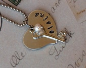 heart and key personalized necklace