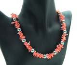 Pink Coral and Pewter Pearl Necklace
