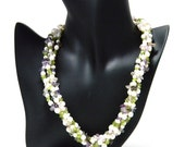 4 Strand Fresh Water Pearl, Amethyst and Peridot Necklace
