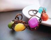 Cuff Bracelet Petite Colorful Quartz Beads Wire Wrapped Copper