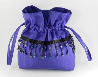 Handbag, Evening Bag, Royal Purple Taffeta, Black Iridescent Beading