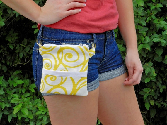 Hip Pouch,  Fanny Pack, Lemonade Swirl Pattern.......... Great for Summer Festivals or use as a Golf Purse