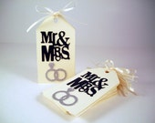 Favor Tags Bridal Mr. and Mrs. Hang Tags Celebrate the Bride and Groom  100 tags