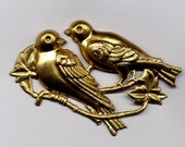 6 Large Double Bird Brass Metal Stampings