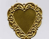 4 Valentine Large Heart w Scroll Border Brass Metal Stampings