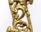 2 Long Art Nouveau Flower Swirl Brass Metal Stampings