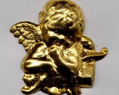 6 Cherub Angel with Bow and Quivers Brass Metal Stampings