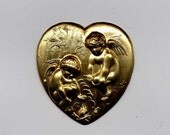 4 Heart with Campfire Angels Brass Metal Stampings
