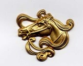 2 Art Nouveau Horse Head Brass Metal Stampings