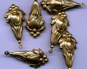 Six 3-D stylized Floral Drop Brass Metal Stampings
