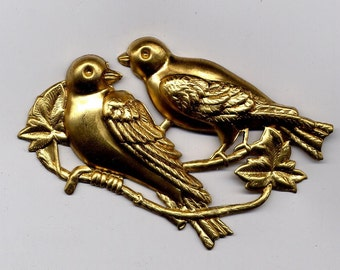 2  Large Double Bird Brass Metal Stampings