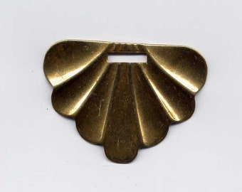 6 Deco Scallop Brass Metal Stampings