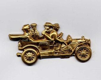 2 Antique car with People Brass Metal Stampings