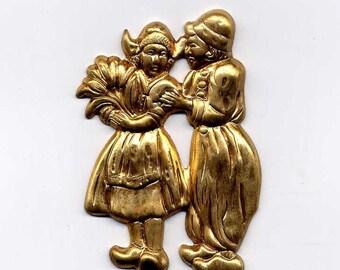 4 Dutch Couple Brass Metal Stampings