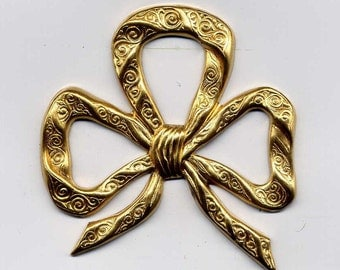 6 Large Thin Bow Brass Metal Stampings