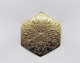 8 Persian Octagon Shape Brass Metal Stampings