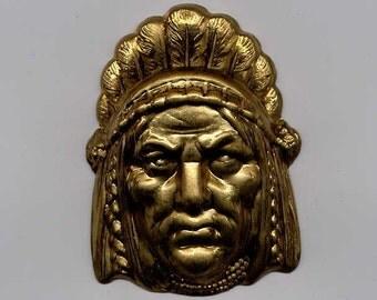 2 Indian Head Brass Metal Stampings
