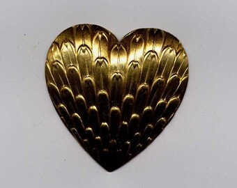 4 Feather Pattern Puffed Heart Brass Metal Stampings