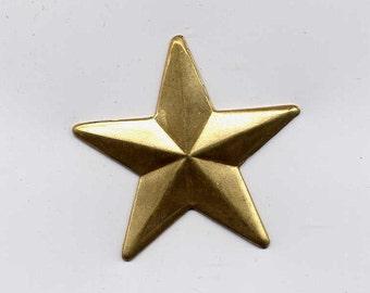 6 Solid Star Brass Metal Stampings