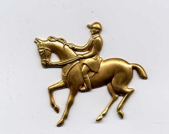 4 Equestrian Horse Rider Brass Metal Stampings Lot 179