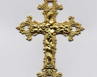 2 Large Filagree Cross Brass Metal Stampings