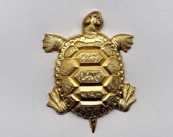 3 Large Turtle Brass Metal Stampings
