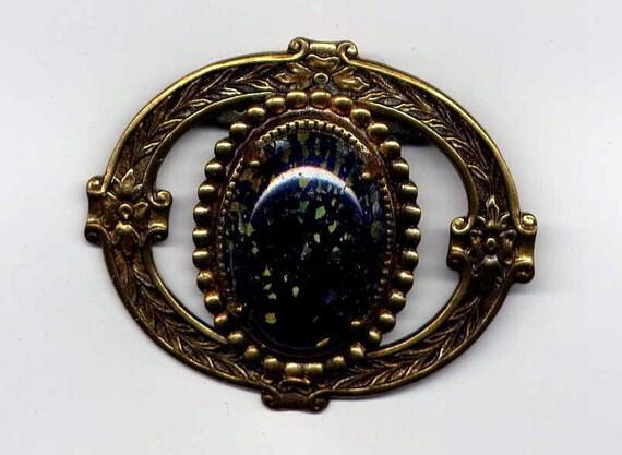 Circle Pin with Faux Black Opal Stone 76