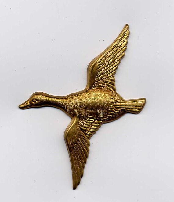 2 Flying Duck Brass Metal Stampings