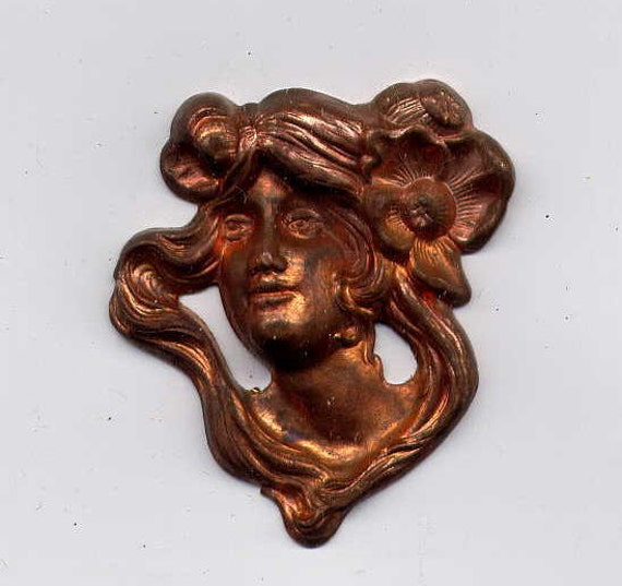 4 Art Nouveau Face with Flowers Brass Metal Stampings