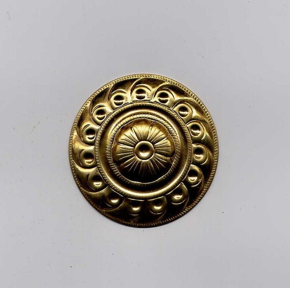 10 Round Domed Disc Brass Metal Stampings