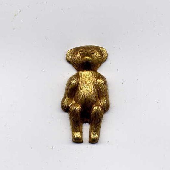 6 Teddy Bear Brass Metal Stampings