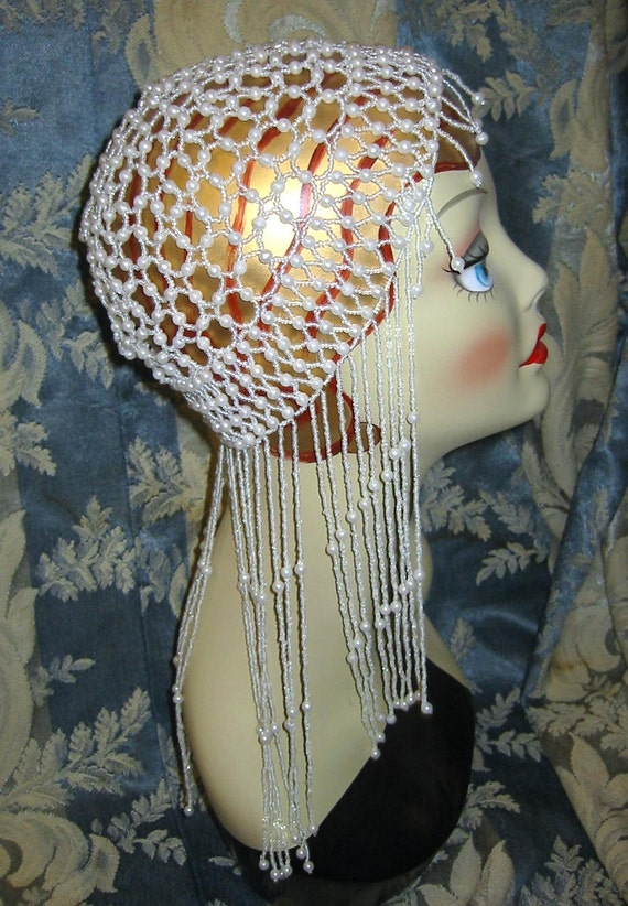 Crystal and Pearl Bead Cap Rennaisance or Belly Dancer Style