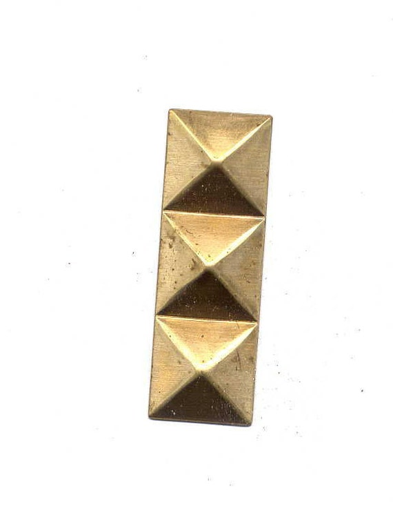 6 Oblong Triple Facted Brass Metal Stampings
