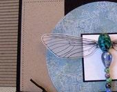 handmade beaded dragonfly blank greeting card