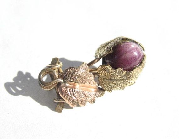 Vintage Two Tone Gold Leaf and Purple Gem Brooch // Victorian Era