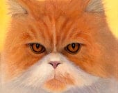 Persian Cat Fine Art Giclee with Soft White Mat - 16 x 16 - Sid with Attitude - 10% Benefits Animal Charities