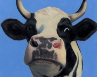 Cow Print - Funny Cow Art - Cow Face - 12 x 12  - 10% Benefits Animal Charities