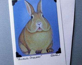 Bunny Card -  Rabbit Card - Easter Card & Postcard  - Easter Bunny - Cute Animal Art Card - 10% Benefits Animal Rescue