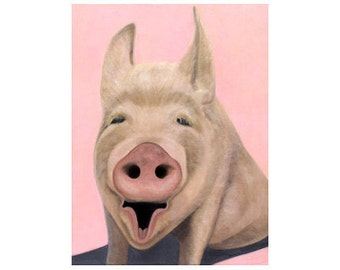Pig Magnet - Pig Art - Funny Animal Magnet - Pig Gift - Perfect Small Gift for the Pig Lover - Proceeds Benefits Animal Charity