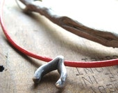 Silver Wishborn Necklace with Red leather and Pearl