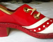 Personality Vintage Spectator Saddle Oxford Shoes Red and White