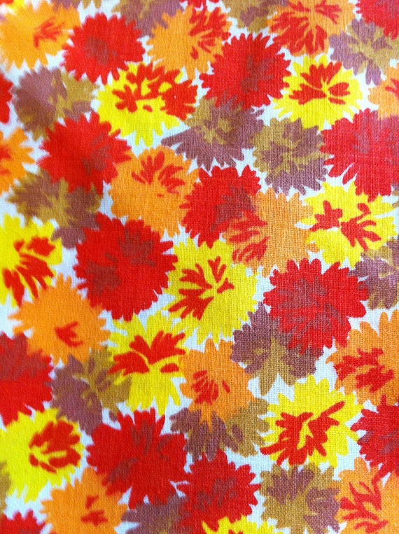 Fabric Orange Brown Yellow Purple Floral Vintage