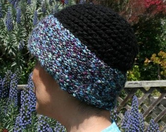 Handmade hand knitted two-tone multi-colored hat